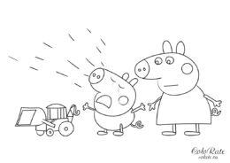 Джордж расплакался - детская разукрашка из мультфильма Свинка Пеппа