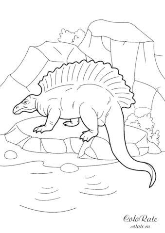 Эдафозавр - скачать и распечатать разукрашку с динозавром