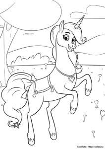 Раскраска Единорога Тринкета из мультика про Неллу - принцессу-рыцаря