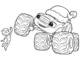 Эй-Джей и Вспыш на Рождество бесплатная раскраска для мальчиков