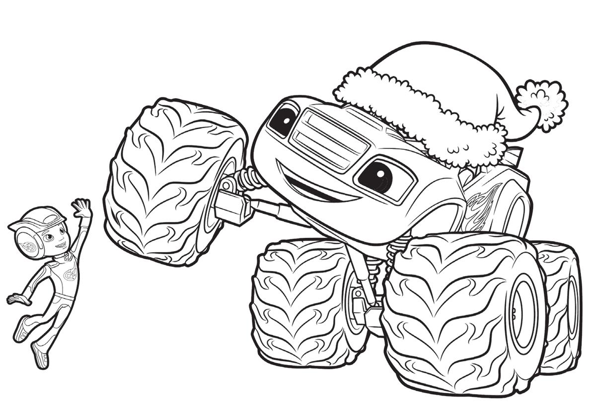 Раскраска Эй-Джей и Вспыш на Рождество распечатать на а4