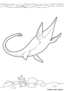 """Эласмозавр - бесплатная разукрашка из категории """"Динозавры"""" распечатать на А4"""