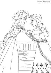 Раскраска по мультфильму Холодное сердце - Счастливые Эльза и Анна