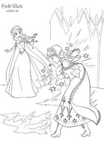 Эльза ранит Анну в сердце - скачать и распечатать раскраску