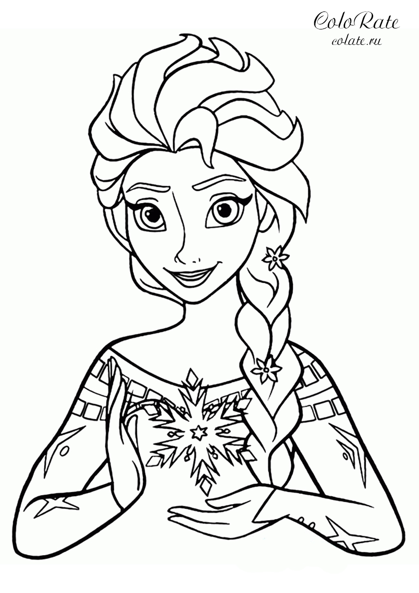 Раскраска Эльза со снежинкой распечатать | Эльза и Анна