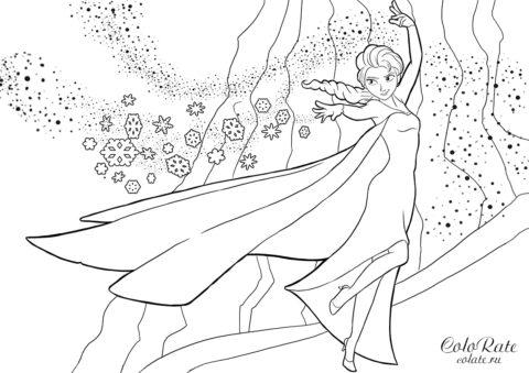 Раскраска по мультфильму Холодное сердце - Эльза строит мост