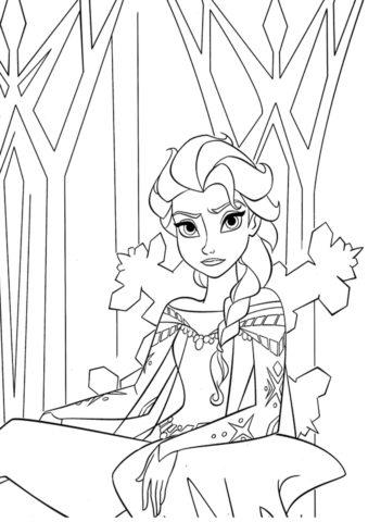 Эльза в ледяной крепости - раскраски с принцессой для девочек