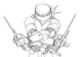 Эпичная поза Рафаэля - раскраска из мультсериала Черепашки-ниндзя распечатать