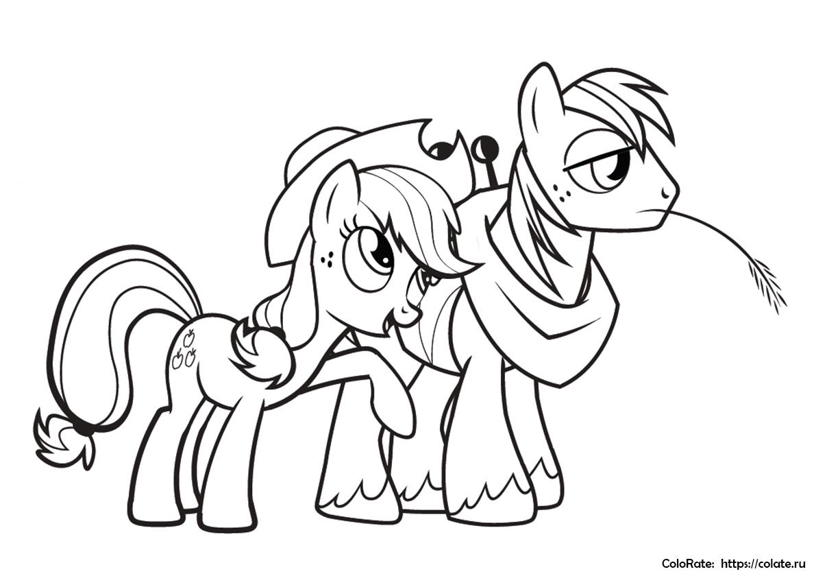 Раскраска Эпплджек с другом распечатать | My Little Pony