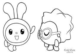 Бесплатная раскраска с Крошиком и Ежиком для малышей