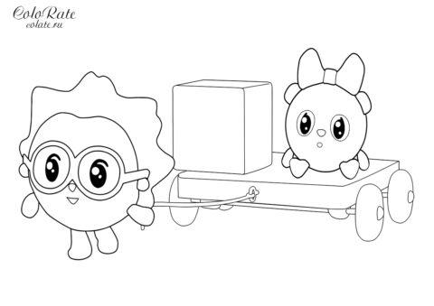 Ежик и Пандочка - раскраска по мультфильму Малышарики