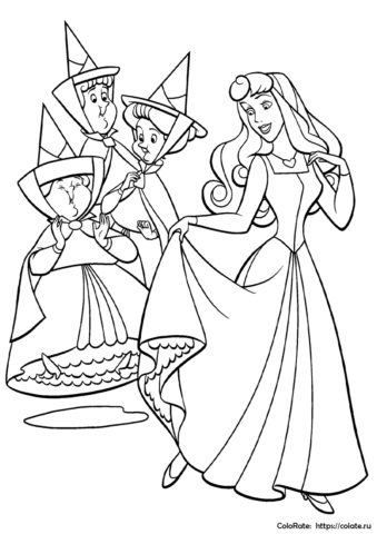 Феи хотят помочь принцессе Авроре - Бесплатная раскраска для девочек