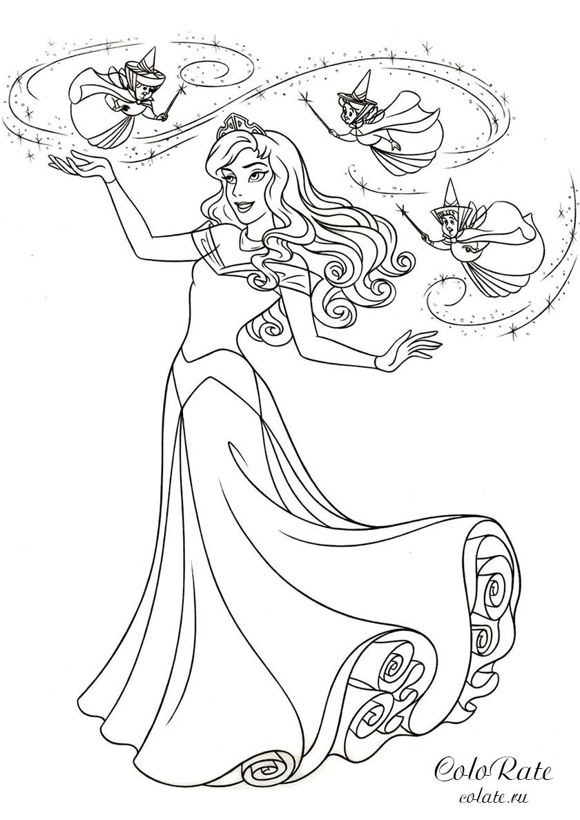 раскраска феи кружат над авророй распечатать спящая красавица