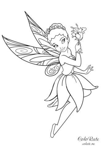 Раскраска с феей Иридессой для девочек