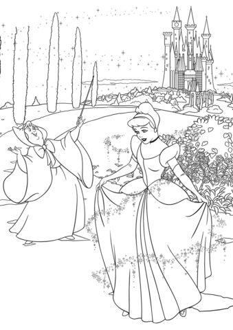 Платье для Золушки - бесплатная раскраска для девочек