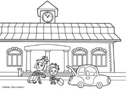 Разукрашка - Фиксики на вокзале - по мультику Фиксики скачать и распечатать