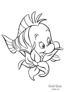 Флаундер с цветочком - разукрашка из мультфильма о Русалочке скачать и распечатать