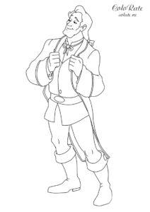 Раскраска с Гастоном из мультфильма про Красавицу и Чудовище