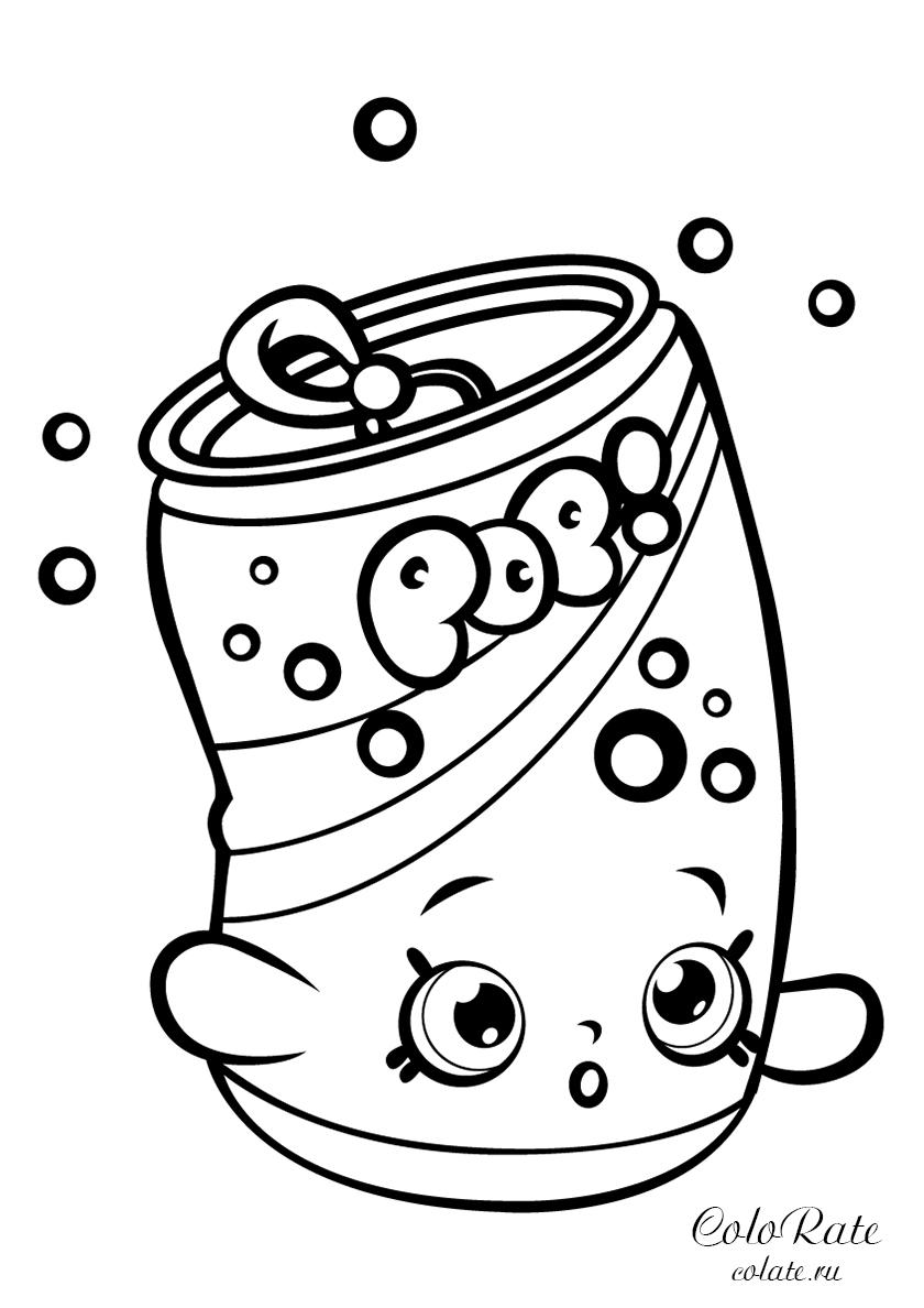 Раскраска Газировка Сода Попс распечатать | Шопкинс