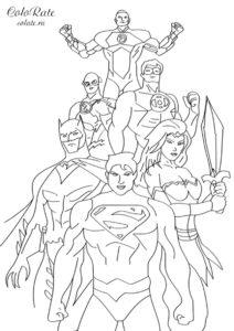 Все супергерои DC Comics - распечатать раскраску