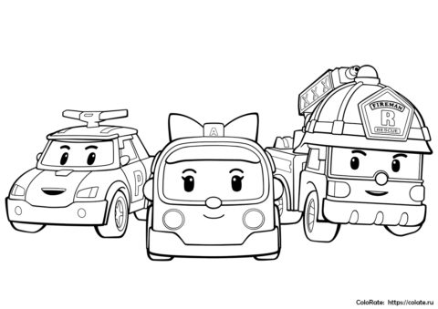 Раскраска Герои городка Брумс для детей - Робокар Поли и его друзья