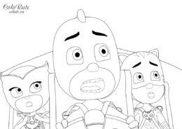 Разукрашка Кэтмобиля и героев в масках для детей