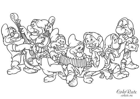 Оркестр семи гномов - скачать и распечатать разукрашку