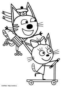 Гонка Коржика и Карамельки - раскраска для детей скачать