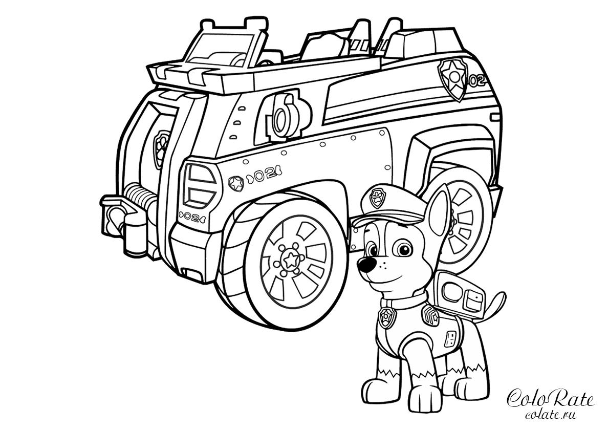 раскраска гонщик с полицейской машиной распечатать щенячий