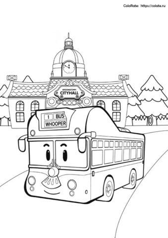Городской автобус Вупер - скачать и распечатать бесплатную раскраску