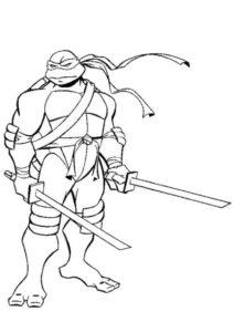 Грустный Леонардо - бесплатная раскраска - Черепашки-ниндзя