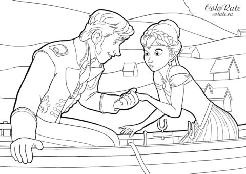 Ханс и Анна - разукрашка из мультика Холодное сердце