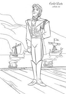 Раскраска с принцем Хансом из мультфильма Холодное сердце