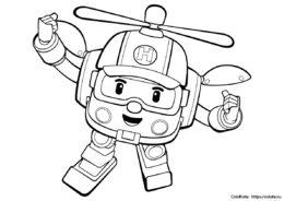 Раскраска робокоптера Хэлли из мультфильма Робокар Поли для мальчиков