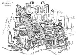 Хижина чудес - раскраска для детей - Гравити Фолз - мультфильм
