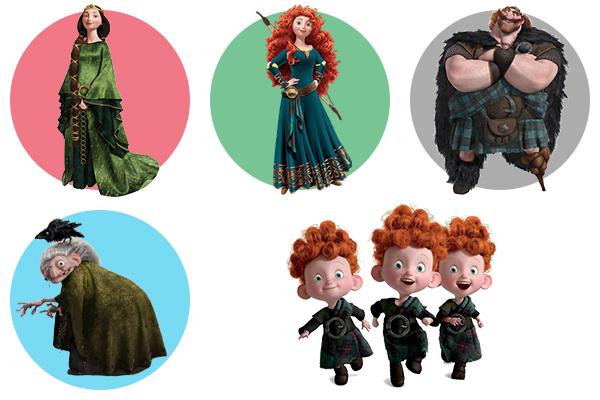 Храбрая сердцем (Brave) - как раскрасить героев мультфильма
