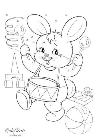 Игрушечный зайчик барабанщик раскраска для детей