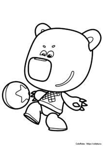Ми-Ми-Мишки раскраска Кеши с мячиком для детей