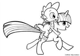 Искорка и Спайк - раскраска для девочек распечатать - My Little Pony