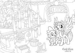 Разукрашка My Little Pony - Искорка и Спайк