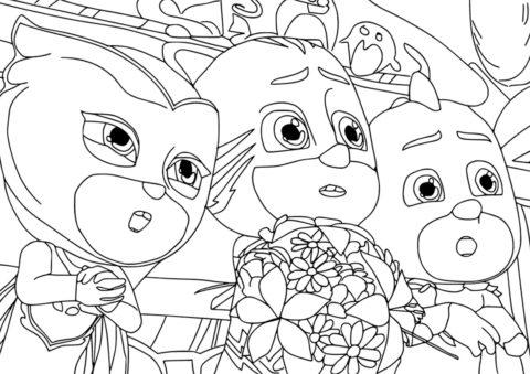 Удивление героев в масках - скачать и распечатать раскраску на А4