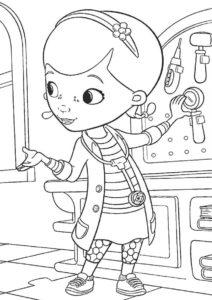 Разукрашка для детей - Доктор Плюшева - Изучение анамнеза