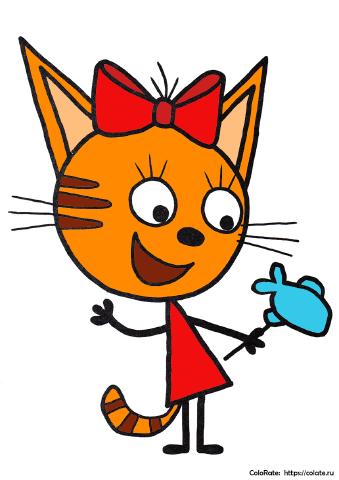Как раскрасить Карамельку из Трех котов