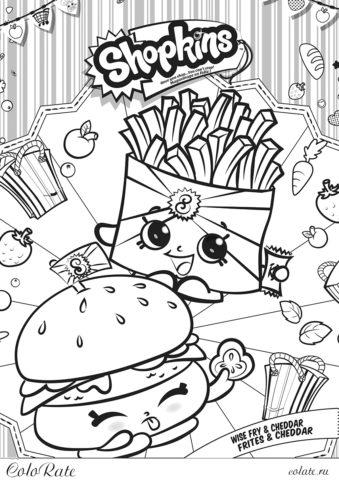 Раскраска shopkins - Картошка Фри и Бургер