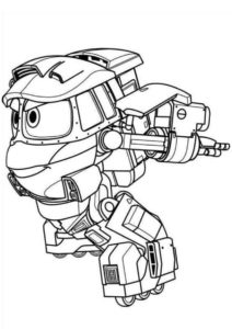 Кей спешит - разукрашка для мальчиков - Роботы-поезда