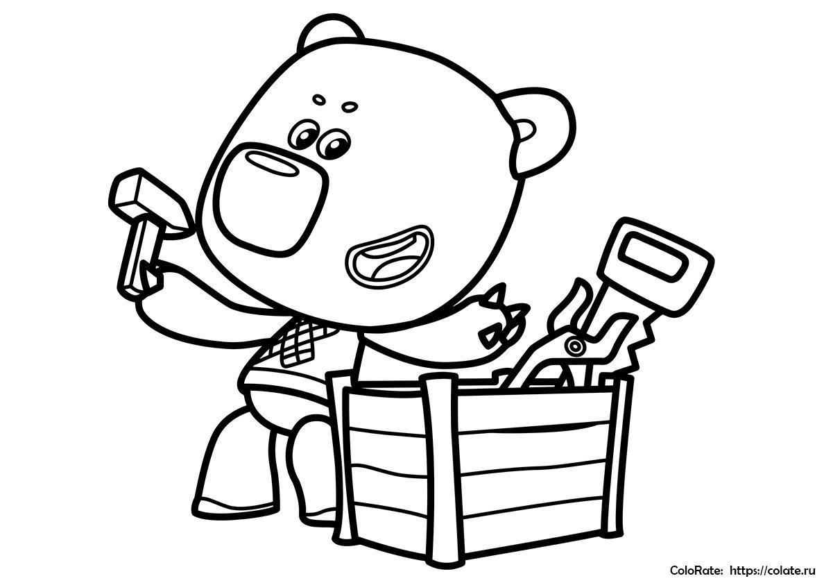 Раскраска Кеша с инструментами распечатать   Ми-ми-мишки