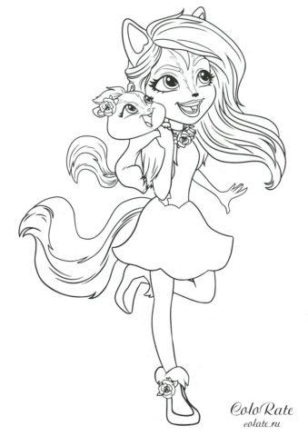 Энчантималс - Кейпер и Сейдж Скунси - бесплатная раскраска для девочек