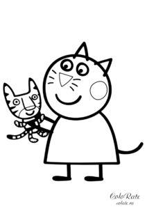 Киска Кэнди с игрушкой - раскраска из мультика Свинка Пеппа