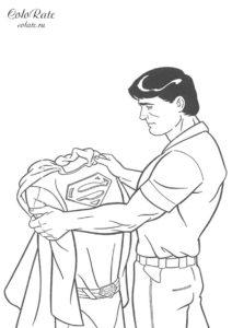 Кларк Кент с костюмом - разукрашка для мальчиков