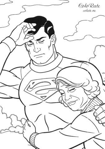 Кларк Кент с матерью - бесплатные раскраски про супермена